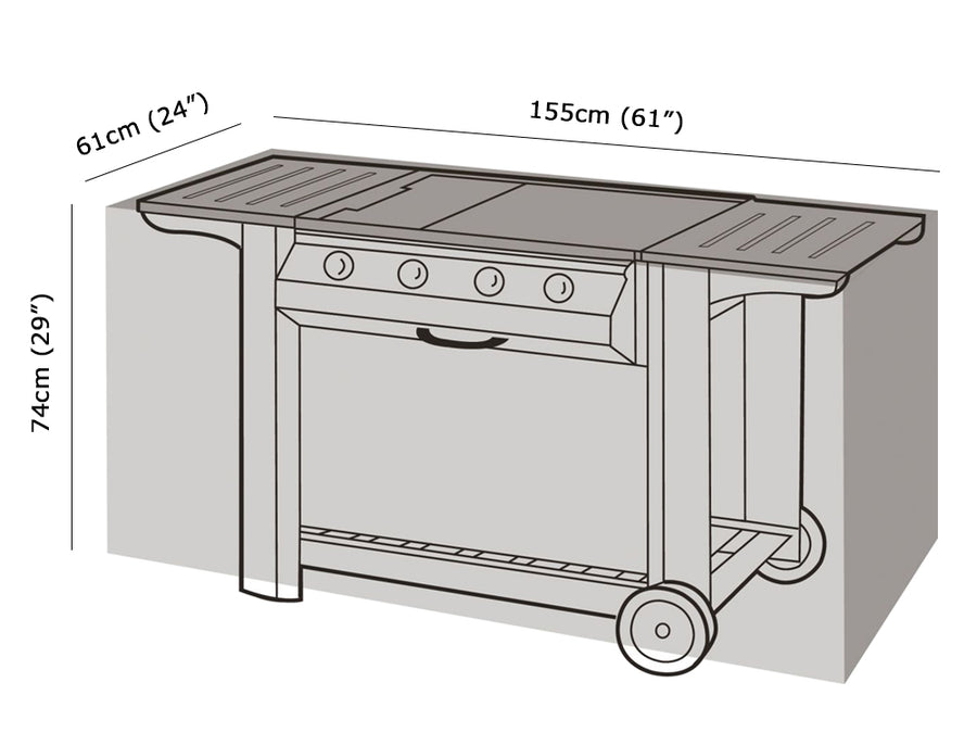 W1128 Large Flatbed BBQ Cover Measurements