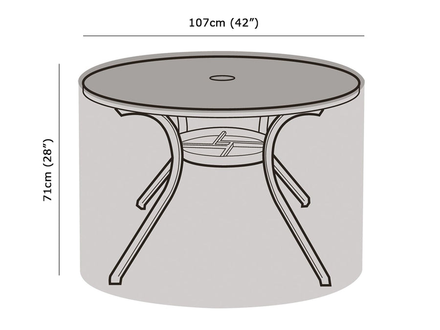 W1160 4 Seater Round Table Cover Measurements