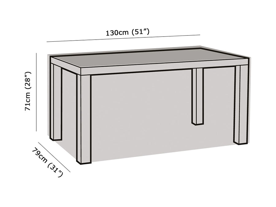 W1172 4 Seater Rectangular Table Cover Measurements
