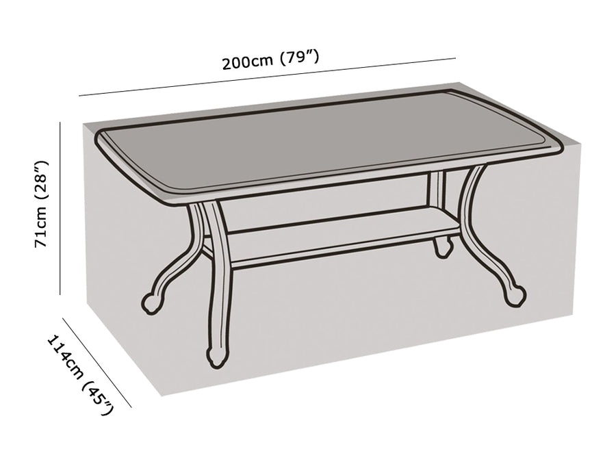 W1180 8 Seater Rectangular Table Cover Measurements