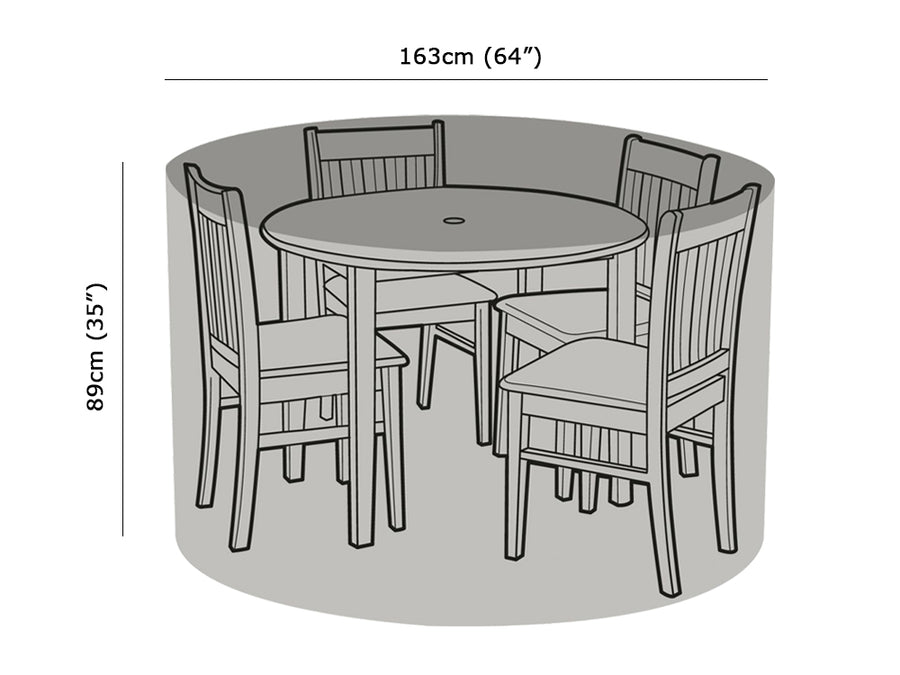 W1192 4 Seater Round Table & Chairs Cover Measurements