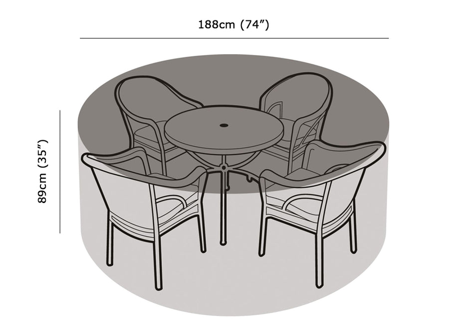 W1196 4-6 Seater Round Table & Chairs Cover Measurements