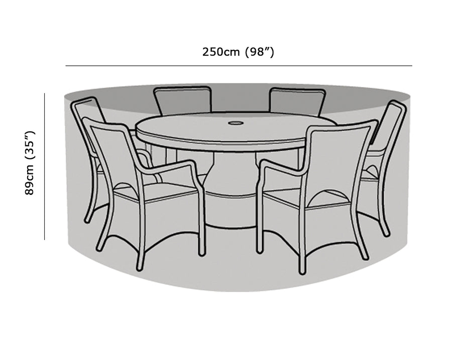 W1200 6-8 Seater Round Table & Chairs Cover Measurements