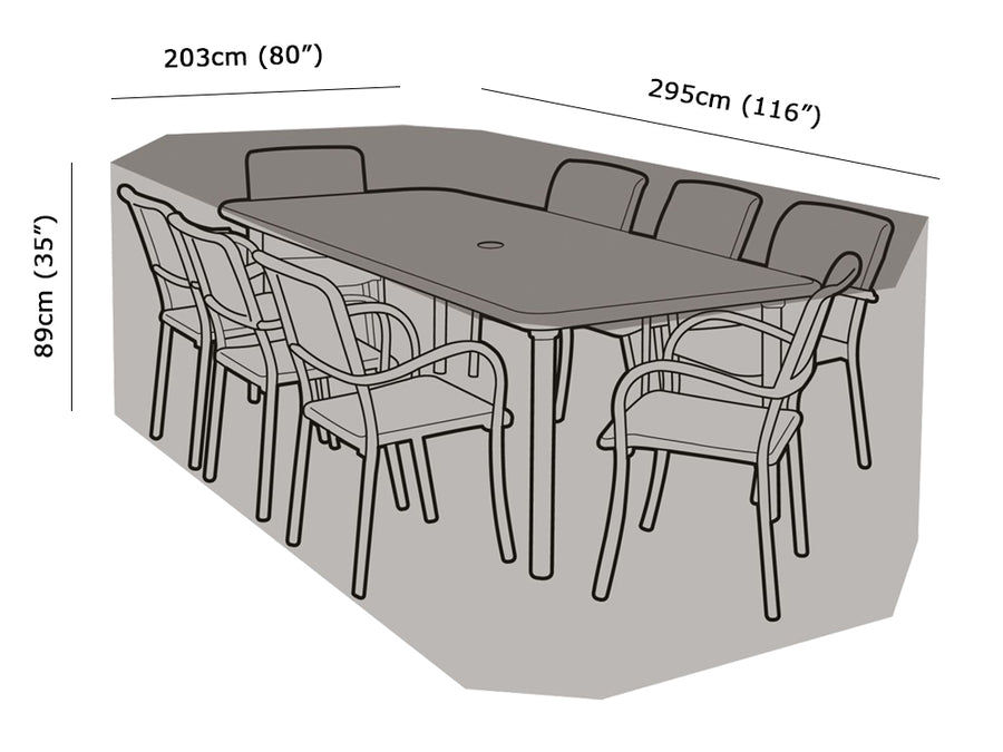 W1212 8 Seater Rectangular Table & Chairs Cover Measurements