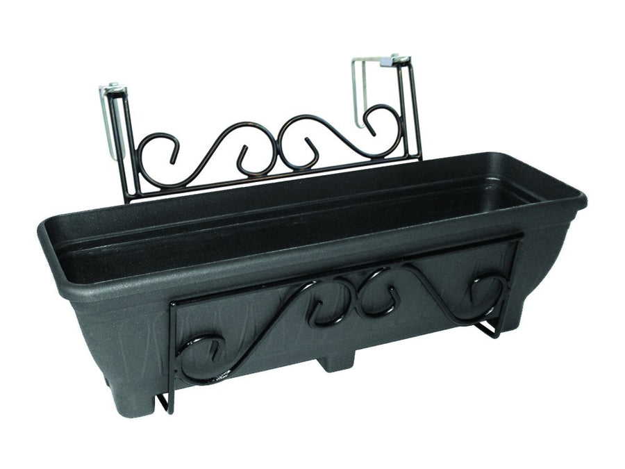 Adjustable railing planter, balcony planter or fence planter - Charcoal