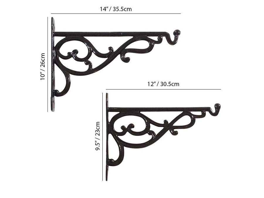 Cast Aluminium Hanging Basket Brackets - Measurements