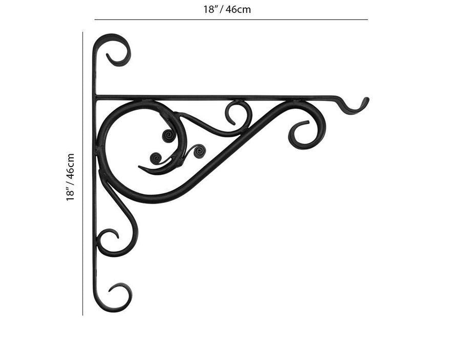 "Forged Hanging Basket Brackets - 18"" Bracket Measurement"