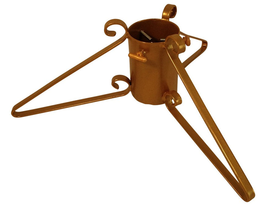 Metal Christmas tree stand with 3 legs in gold