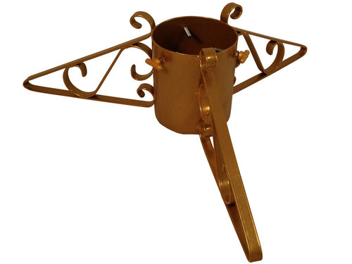 Metal Christmas tree stand with 3 scrolled legs in gold