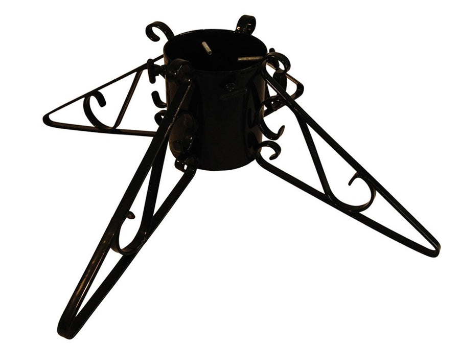 Metal Christmas tree stand with 4 scrolled legs in black