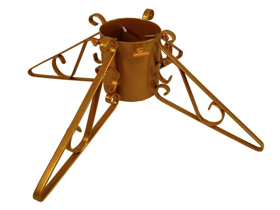 Metal Christmas tree stand with 4 scrolled legs in gold