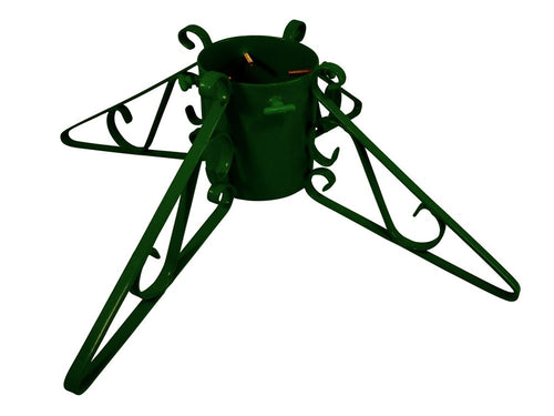 Metal Christmas tree stand with 4 scrolled legs in green
