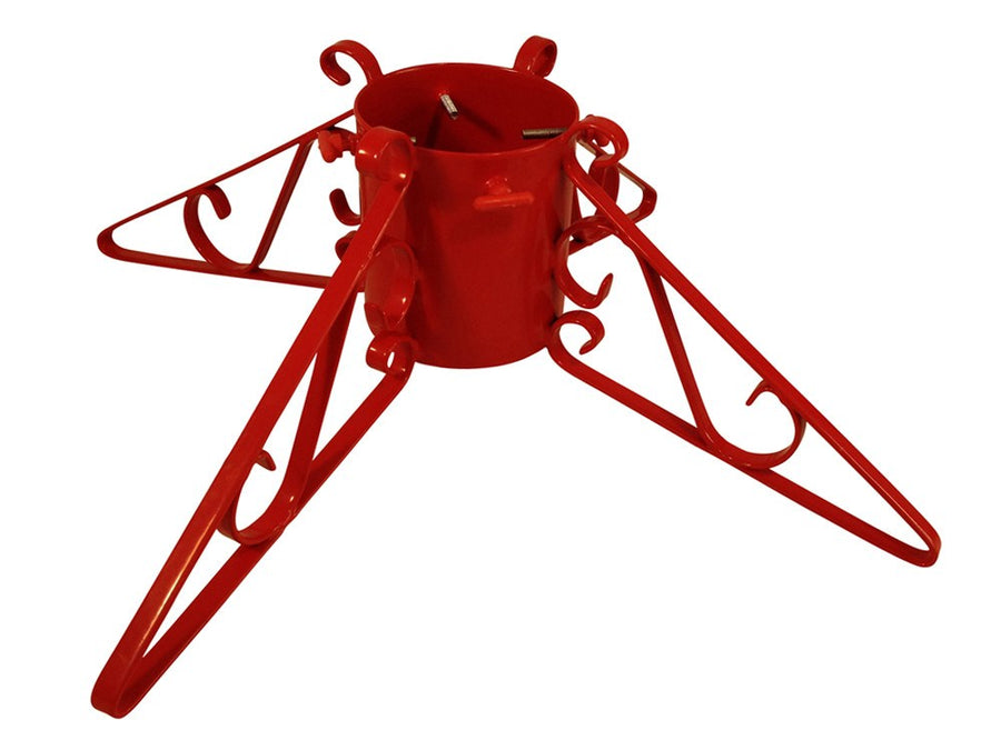 Metal Christmas tree stand with 4 scrolled legs in red