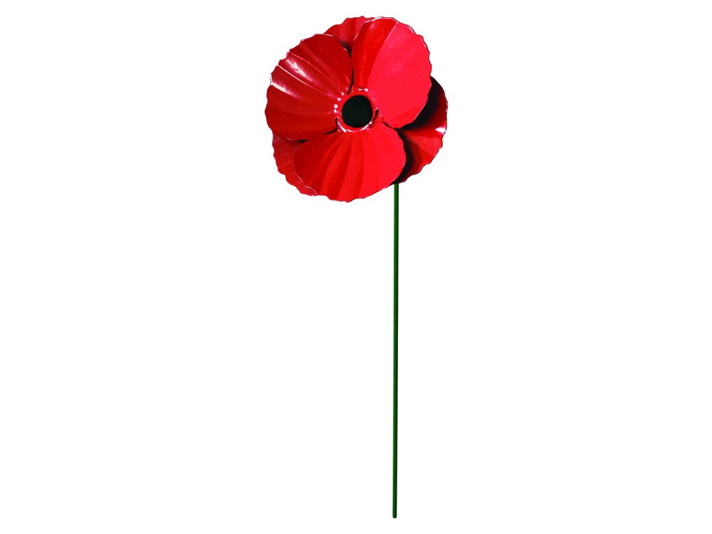 Metal Poppy Garden Stake - Pack of 3