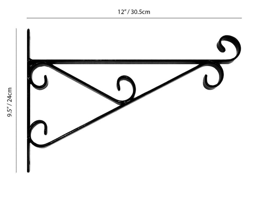 "Premium Hanging Basket Bracket - 12"" Bracket Measurements"
