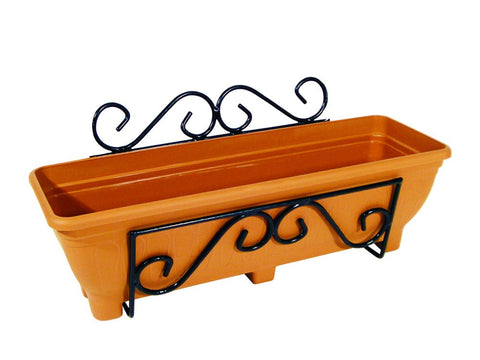 Wall mounted trough planter scrolled - Terracotta