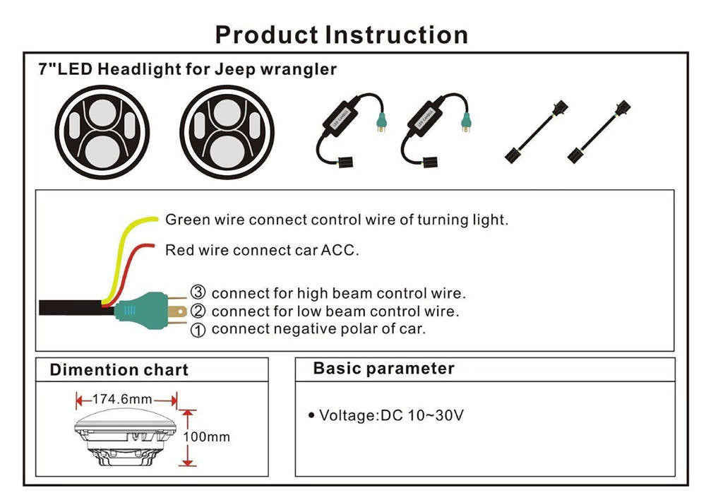 7 inch daymaker white halo bulb kit led headlight projectior nissan wiring harness diagram 1pcs 7 inch led halo headlight 1pcs 7 inch mounting bracket 1pcs h4 h13 adapter