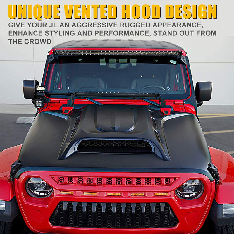 Piranha Series Hood with Functional Air Vents for 2018+ Jeep Wrangler JL and Gladiator JT