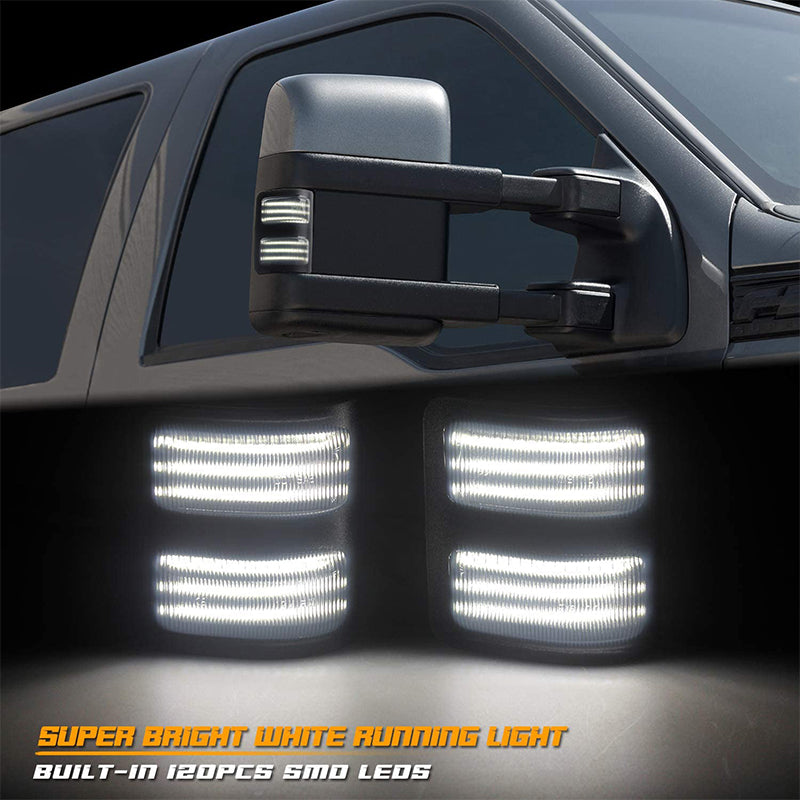 Sequential 3-Row Side Mirror With Running Lights And LED Turn Signal Lights for 2008-2016 Ford F250 F350 F450 Super Duty