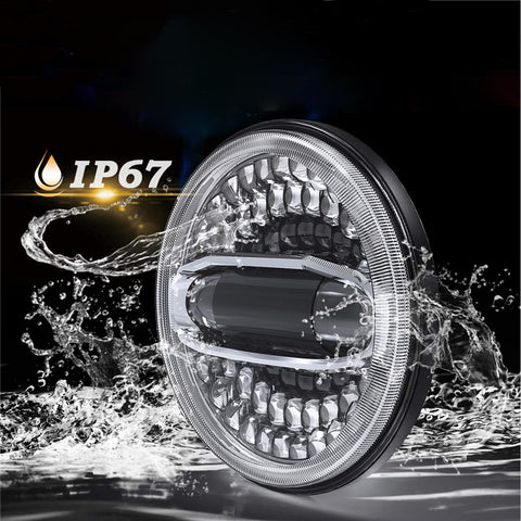 """7"""" LED Headlight With Hi/Lo Beam Blue/White Halo DRL + 4.5'' LED Passing Lamps Combo for Indian Motorcycles"""