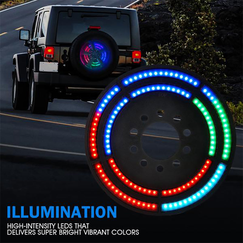 """14"""" Dual Spare Tire RGB LED Brake Light with Remote Control For 2007-2018 Jeep Wrangler JK & 2018+ JL"""