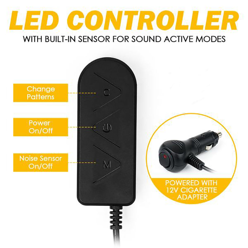 4PC Celestial Series Interior RGB LED Car Light Set with Remote Control - Powered by Cigarette Adapter