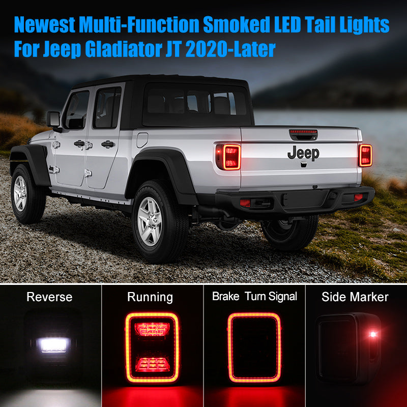 Smoked LED Tail Lights For Jeep Gladiator JT 2020-Later