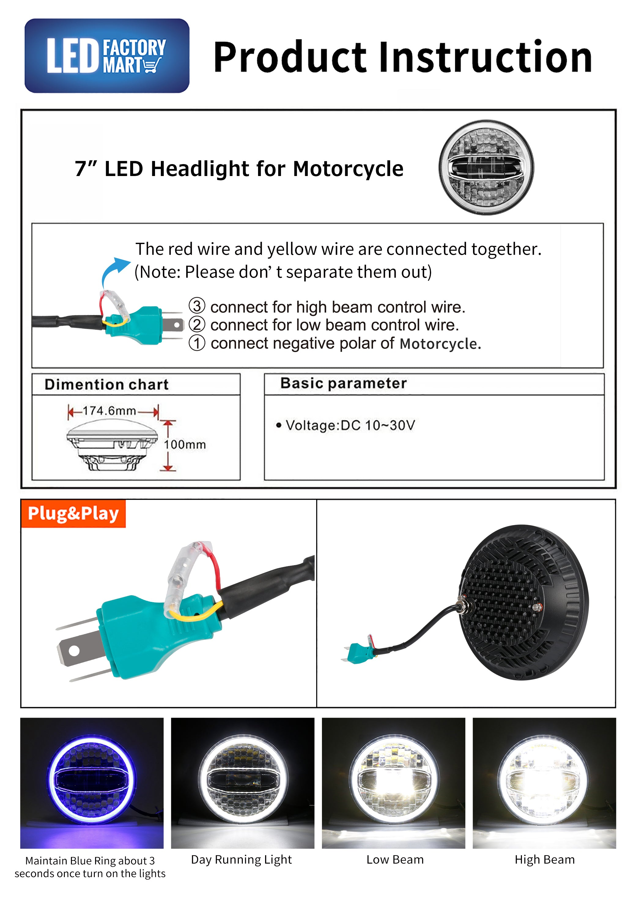 7 Inch LED Headlight With Halo DRL Hi/Lo Beam & 4.5 Inch LED Halo Fog Lights for Indian Motorcycles