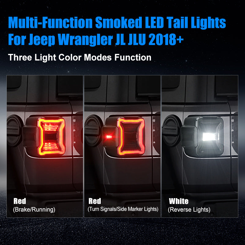 Smoked LED Tail Lights & Smoked LED 3rd Brake Light Compatible For 2018+ Jeep Wrangler JL