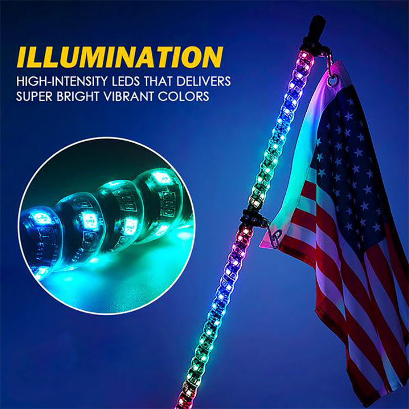 G3 Spiral RGB LED Flag Pole Whip Light with Remote Control