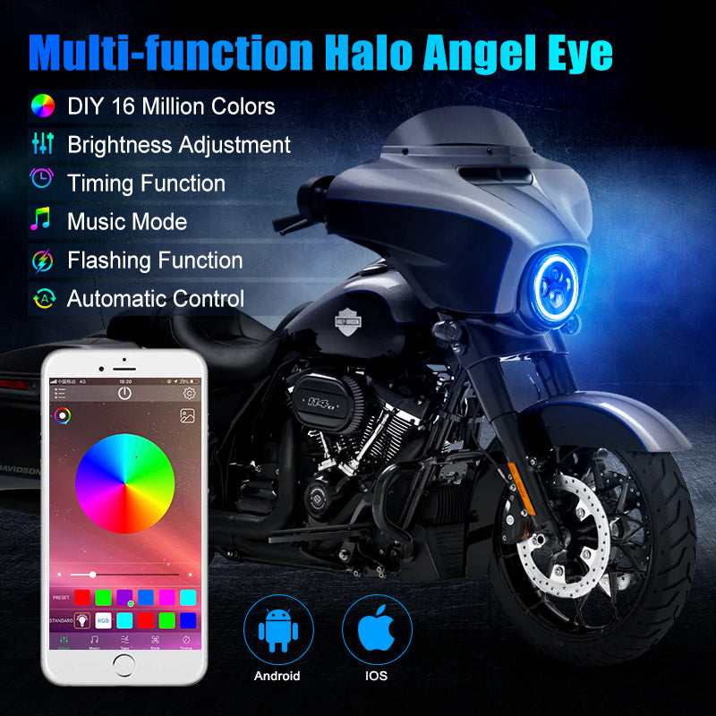 Harley LED Headlights with RGB Halo Angel Eye App Or Remote Control for Motorcycle