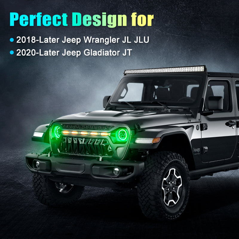 Multi-Function 9 Inch LED RGB Headlights For 2018+ Jeep Wrangler JL And Jeep Gladiator JT
