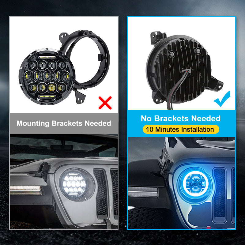 """Multi-Function 9"""" LED RGB Headlights For 2018+ Jeep Wrangler JL And Jeep Gladiator JT"""