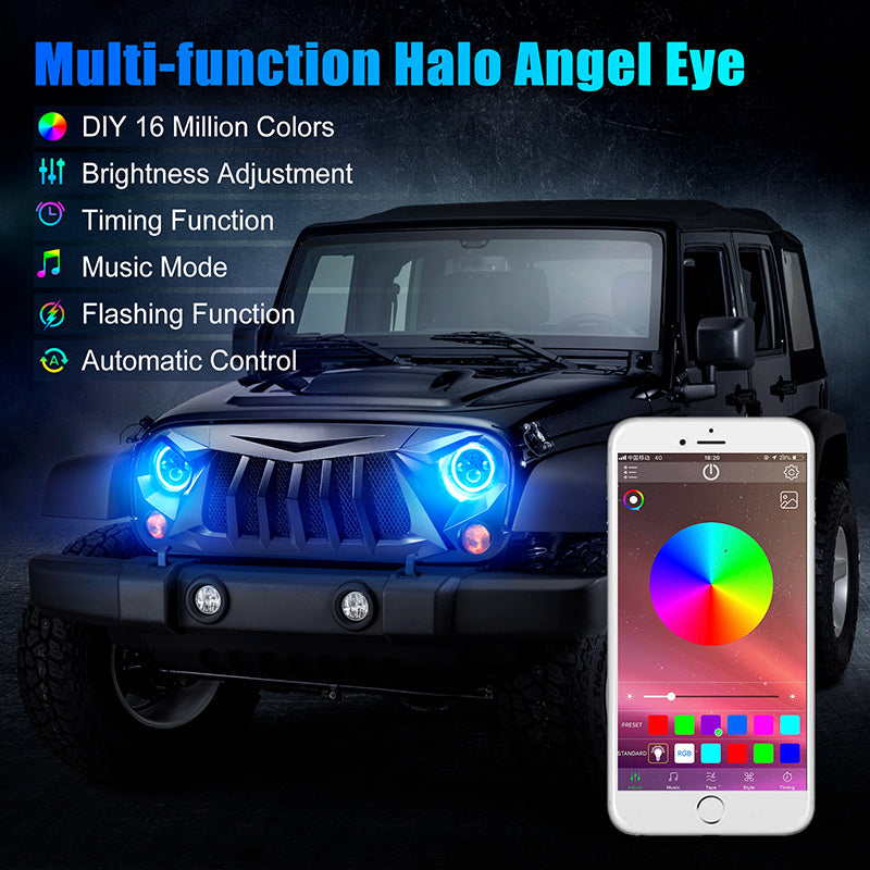 """7"""" LED Headlights with RGB Halo Angel Eye App Or Remote Control for 1997+ Jeep Wrangler"""