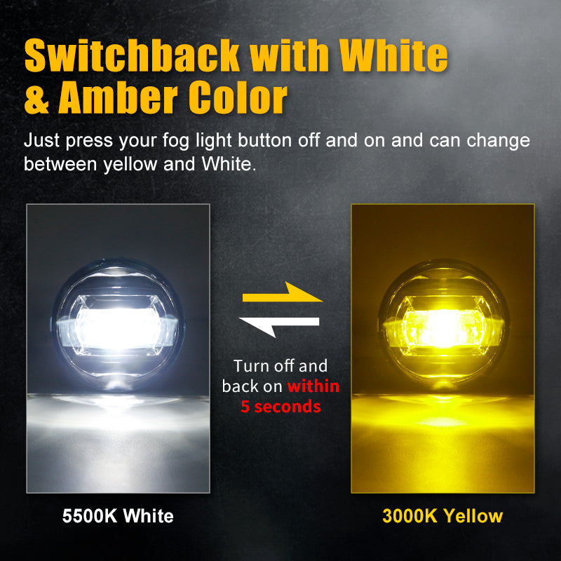 LED Fog Lights Switchback with White & Amber Color For 2005-2011 Tacoma 2007-2012 Tundra