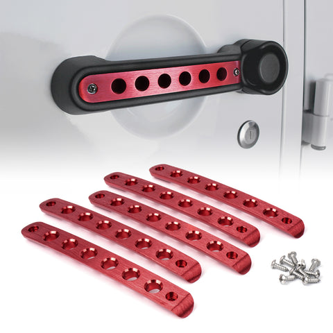 USA ONLY 5 Piece Set Red Brushed Aluminum Door Handle Trim Insert
