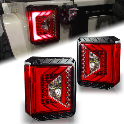 USA ONLY Rival Series LED Taillights with Red Lens For 2007 - 2017 Jeep Wrangler JK JKU