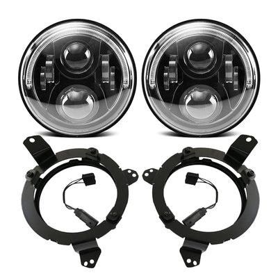 120W Cree LED Angel Eyes Headlight with 9 Inch LED Headlight Bracket Ring for 2018-2020 Jeep Wrangler JL And Jeep Gladiator JT - LED Factory Mart