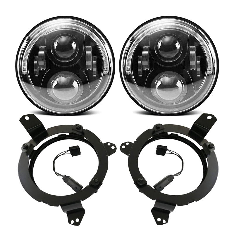 7 inch 120W Cree LED Angel Eyes Headlight with LED Headlight Bracket Ring for 2018-2019 Jeep Wrangler JL JLU