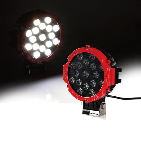 "USA ONLY Red 7"" Round 51W LED Offroad Spot Light"