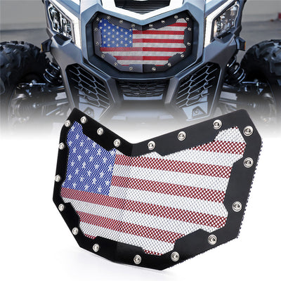 Black Steel Grille with U.S. Flag Mesh for 2017 Can-Am Maverick X3