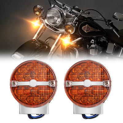 Smoke/Yellow Flat Lens LED Turn Signal Lights For Softail Classic FLSTC and Touring models