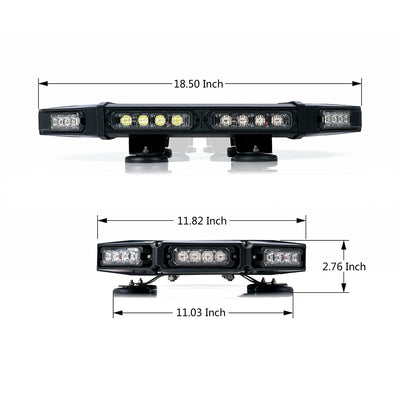 "USA ONLY Amber/White Mini Black Hawk 18"" Professional LED Stealth Low Profile Roof Top Strobe Light Bar"