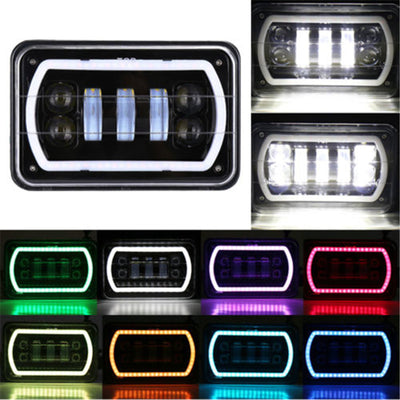 4x6 inch LED Headlights Hi-Lo Beam With RGB Angle Eyes For Offroad, Trucks, Ford