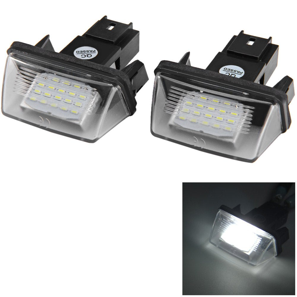12V Number License Plate Light / Bulb with 18 LEDs White Light for Peugeot