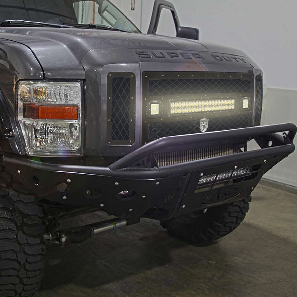 Front grille mesh grill replacement w120w led light bar for ford front grille mesh grill replacement w120w led light bar for ford f250 f350 aloadofball Image collections