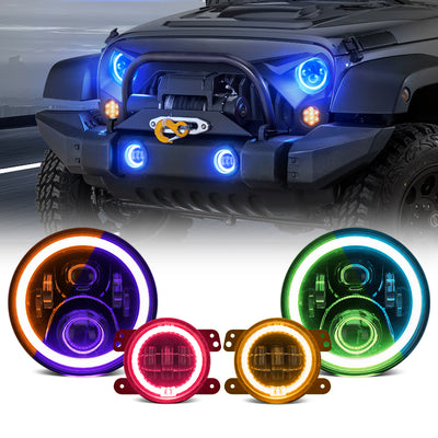 2020 Newest LED RGB Color Changing Halo Headlight with Amber Turn Signal + Fog Light Kit Combo For 2007-2018 Jeep Wrangler JK