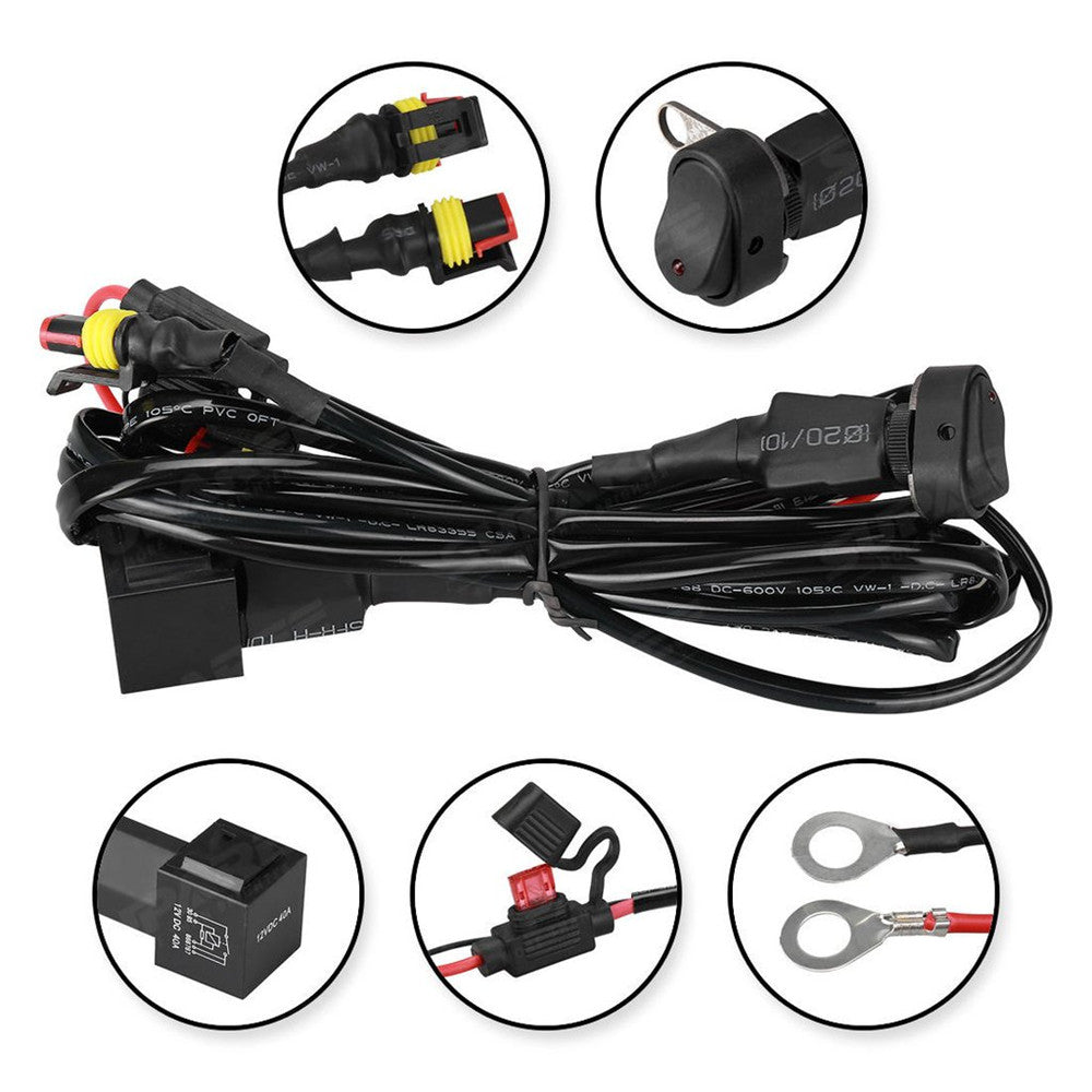 usa only 40a 12v universal wiring harness switch on off for rh ledfactorymart com Hot Rod Circuit Universal Wiring Harness 8 universal plug-n-play wiring harness for motorcycle air horns