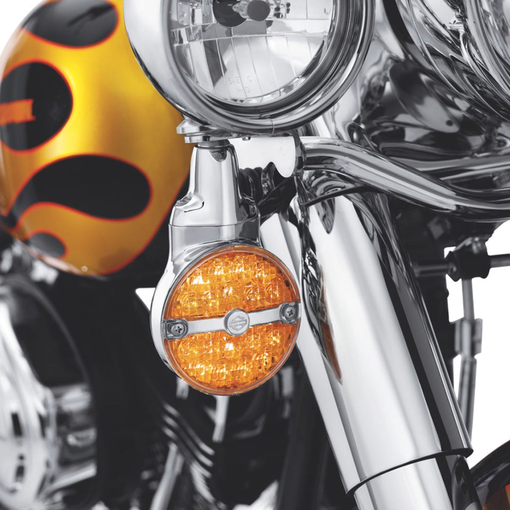 Smoke/Yellow Flat Lens LED Turn Signal Lights For Harley Softail Classic FLSTC