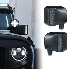 Smoke Lens LED Side Mirror with White Spot Lights and Amber Turn Signal Lights